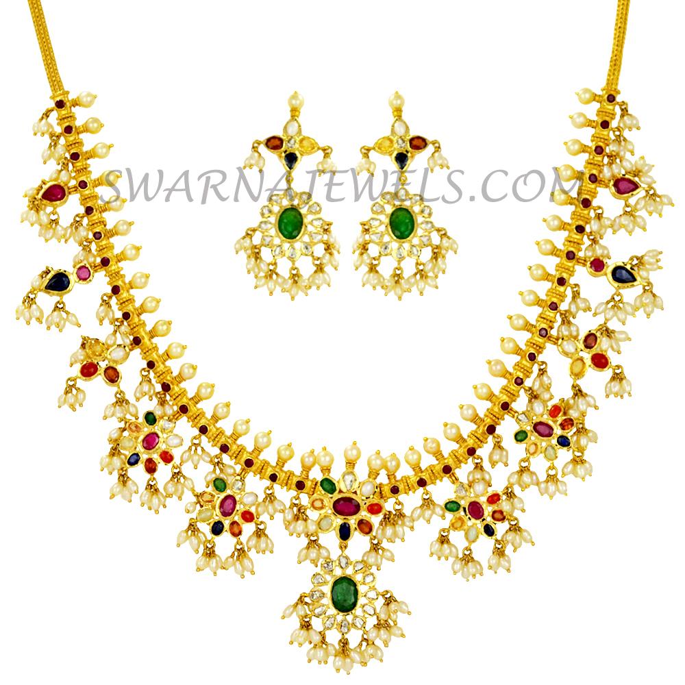 181243c72d0f0 Uncut Diamond and Navratna Gutta Pusalu Necklace Set(UDNS145)